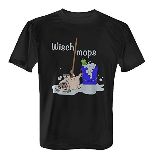 Wischmops - Herren T-Shirt von Fashionalarm | Fun Shirt Spruch Spaß Wischmopp Putzen Mops Hund lustig niedlich süß, Farbe:schwarz;Größe:L