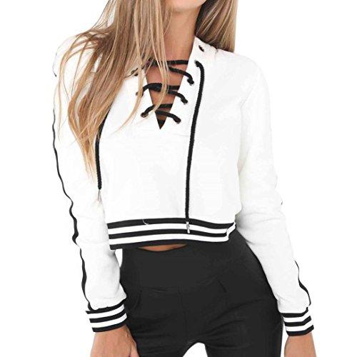 LHWY Bluse Damen Elegant, Frauen Bügel Verband V-Kragen Tops Lose Sport Oberteile Frühlings Teenager Mädchen Zufällige Lange Hülsen Sweatshirt Pullover Mantel Mode Streetwear Weiß (S, Weiß)