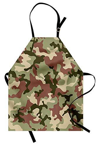 Soefipok Camo Schürze, illustrierte grüne Tarnung in Waldfarben Hunter Combat, Unisex-Küchenschürze mit verstellbarem Hals zum Kochen Backen Gartenarbeit, getrocknete Rose Dunkelgrünes ()