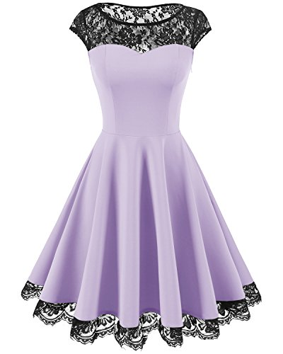 Homrain Damen 1950er Elegant Spitzenkleid Rundhals Knielang festlich Cocktail Abendkleid Lavender M