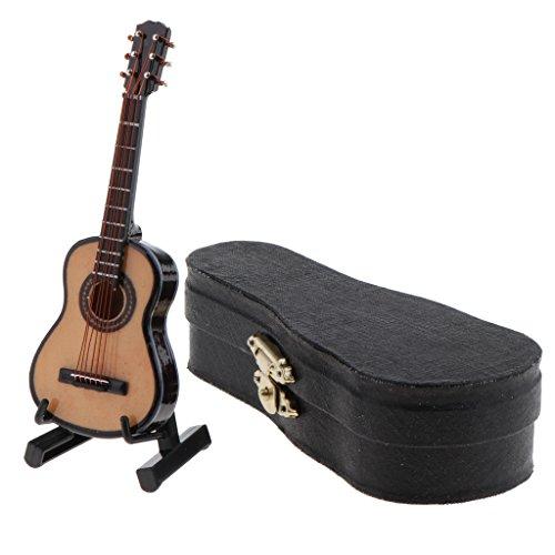 Sharplace Escala 1/12 Guitarra de Madera Instrumento Musical con Estuche en Miniatura Decoración de Casa de Muñeca