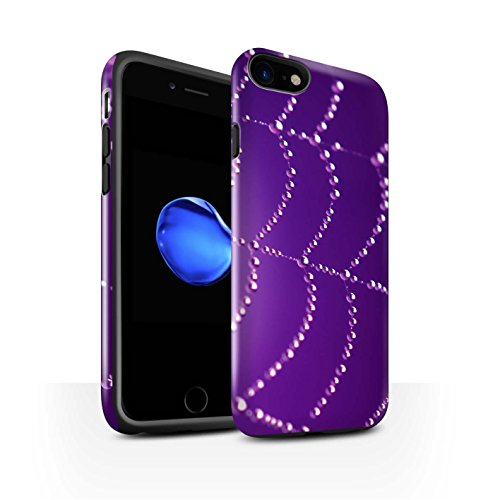 STUFF4 Glanz Harten Stoßfest Hülle / Case für Apple iPhone 8 / Rosa Muster / Spinnen Netz Perlen Kollektion Lila