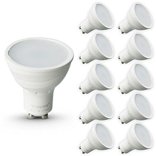 10er Pack TIWIN GU10 LED A+ Lampe, ersetzt 50W, Warmweiss (2700K), 420 Lumen, 5W, 110 Grad, 14x SMD2835