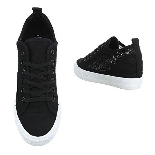 Ital-Design Low-Top Sneaker Damenschuhe Low-Top Keilabsatz/Wedge Keilabsatz Schnürsenkel Freizeitschuhe Schwarz