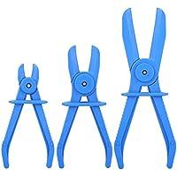 Qiilu 3Pcs Ensemble de Pinces Flexibles pour Tuyau Frein Carburant Essence Kit Outil Bouclage De Tuyau D'huile ( Bleu )