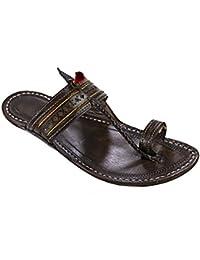 KORAKARI Men's Handcrafted Pure Leather Kolhapuri Chappal