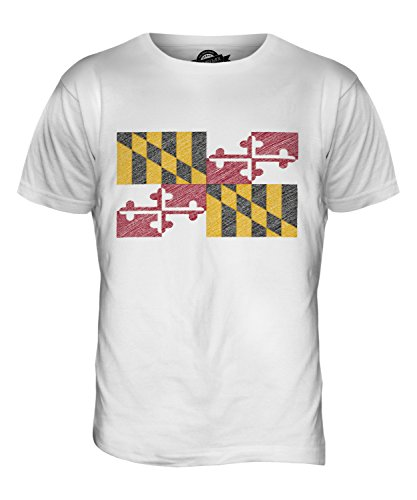 CandyMix Bundesstaat Maryland Kritzelte Flagge Herren T Shirt Weiß