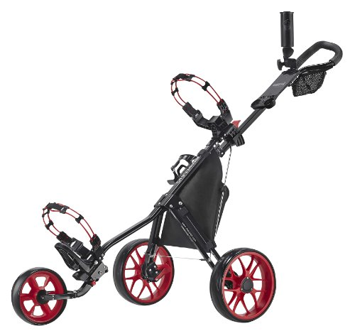 CaddyTek 11.5 V3 3-Rad Push Golftrolley Golfcaddy Golfwagen schwarz rot
