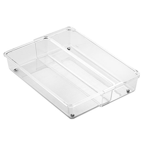 InterDesign Linus Expandable Cutlery Tray, 2-Compartment Drawer Dividers for Cutlery and Kitchen Utensils, Made of BPA-Free Plastic, Clear