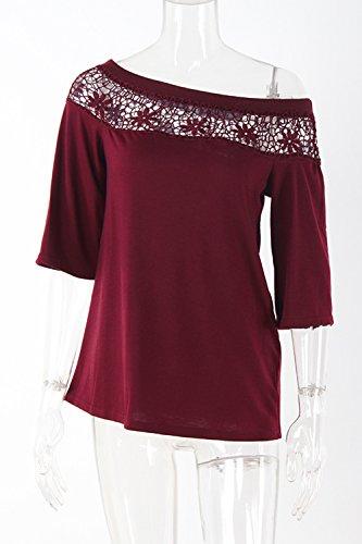 Damen Ist Sommer Spitzen Patchwork - T - Shirt Einer Schulter - Tops Wine