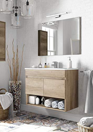 Kit mobile da bagno dakota 2 ante completo di specchio cm 80x45x64h finitura rovere nextradeitalia confezione da 1pz