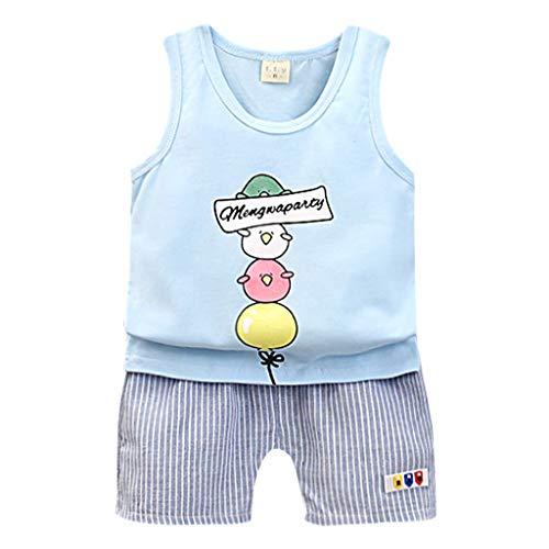 wuayi  Baby Jungs Kleidung Set, Cartoon Weste Tops T Shirt Gestreiften Shorts Outfits Kostüm Jungen Kleidung 6 Monate - 3 Jahre