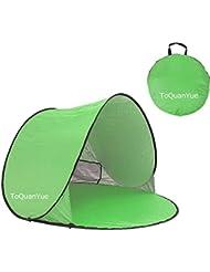 Grande al aire libre automático Pop Up Instant portátil Cabana familia tienda de campaña para la playa y sol refugio anti UV Cabana (2–3persona) UPF 50+, verde
