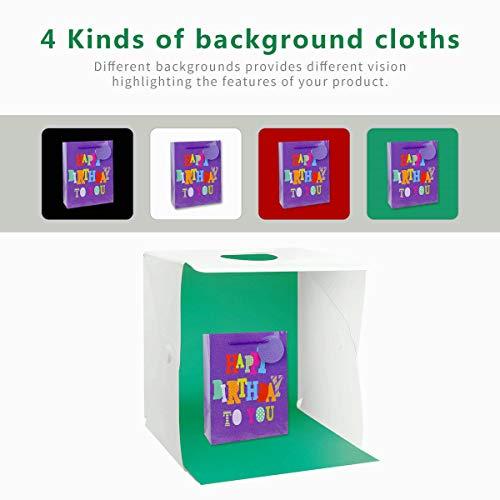 Zoutt Tenda Studio Light Box Fotografico illuminazione 40 bianco//nero//rosso//verde 40cm Portatile con 2 LED Striscia 3 colori di luce 140 LED 4 Sfondi