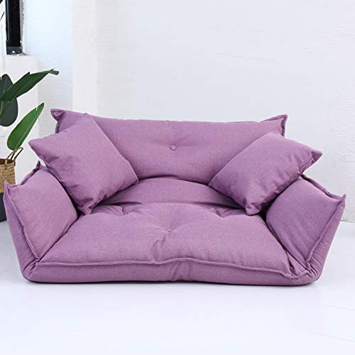 Kelly' Harvest House Sofá Cama con Dosel de Tela Sofá Cama con Cojines Sofá Cama con Respaldo Ajustable Silla de sofá con cojín de Suelo Desmontable extraíble, (Color : Purple)