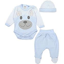 TupTam Baby Bekleidungsset Body Strampelhose Mütze Teddybär, Farbe: Blau, Größe: 62
