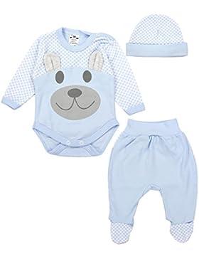 TupTam Baby Kleidung Set Body Strampelhose Mütze Teddybär
