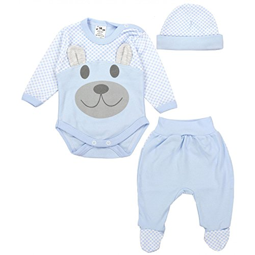 TupTam Baby Kleidung Set Body Strampelhose Mütze Teddybär, Farbe: Blau, Größe: 74