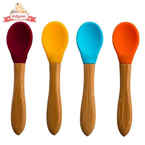 BABYNOW: Cuillère pour bébé - [lot de 4 couleurs] - Manche en bambou avec tête en silicone souple large - sans BPA