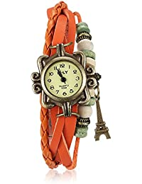Naivo Women's Quartz Brass Plated Stainless Steel and Leather Casual Color:Orange (Model: WATCH-1207)