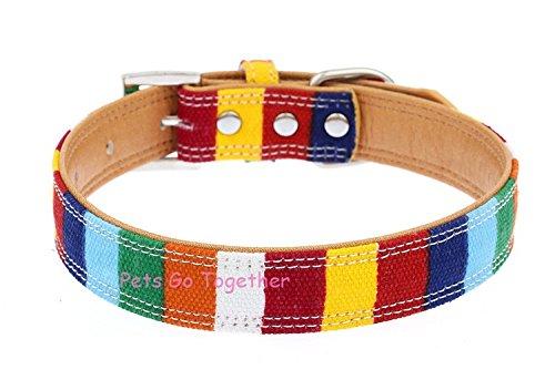 Sruma - Bunte Leinwand-Haustier-Hundehalsband Designer Perro Halsband für große Hundeknochen Strass Katzenhalsband S/M/L [Regenbogen M] -