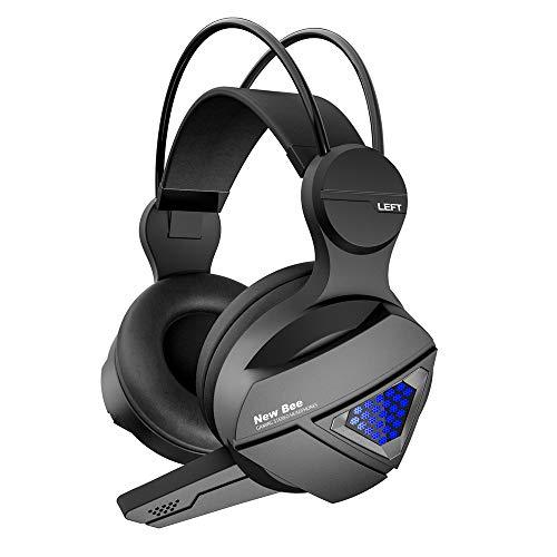 PS4 Gaming Headset Kopfhörer mit Mikrofon und LED-Licht, kompatibel mit Playstation 4, Xbox One, PC Schwarz schwarz Combo Green Compact