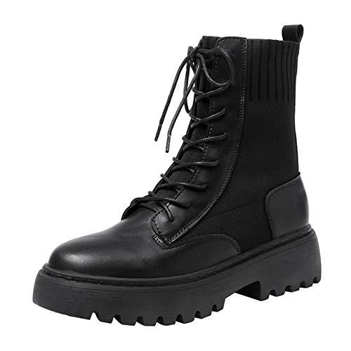 QPDUBB Stivaletti Stivali da Donna Autunno Inverno Stivali da Moto Stivali con Suola in Gomma A metà Polpaccio Calzature Alte da Do