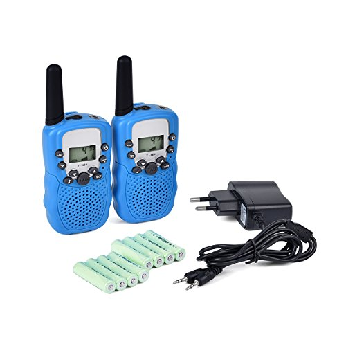 Upgrow 2x Walkie Talkies Set Kinder Funkgeräte mit Ladegerät und Akkus 3KM Reichweite 8 Kanäle VOX Taschenlampe Walki Talki Spielzeug für Kinder mit 8 Akkus Wiederaufladbar (Blau)