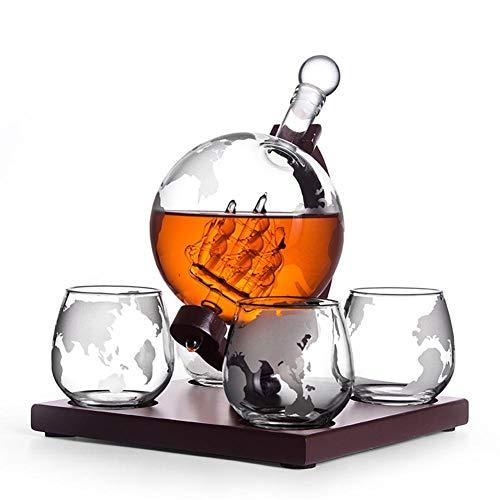 Whisky Dekanter Schiff Set Globus Schottisch,Whisky Dekanter Set Vodka Globe Dekanter Mit 4 Gläsern Likörspender Mit Holzständer Für Scotch Bourbon