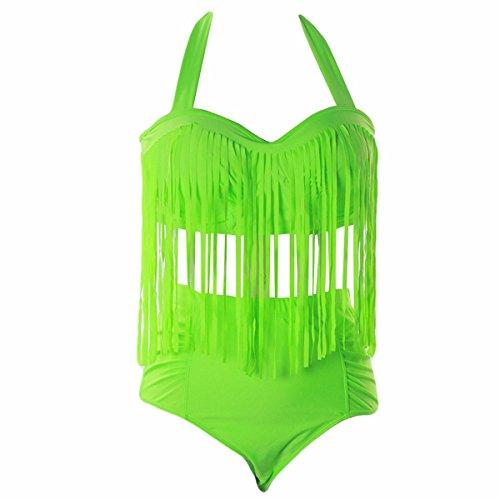 Plus Größe Zwei Stück Bh (Shanxing Damen Bikinis Set Große Größen Hohe Taille Fringe Top Neckholder Bademode Badeanzug Badebekleidung Swimwear, Grüne, Large)