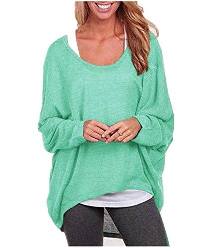 ZANZEA-Mujeres-Camiseta-Con-Manga-Larga-Cuello-Redondo-Camisa-BLouses-T-Shirt-Pullover-Sudadera-Verde-ES-42-44AS-L