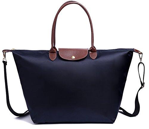 e45c37acf BEKILOLE Women Fashion Waterproof Tote Bag Nylon Shoulder Beach Bag with  Shoulder Strap- Blue Color