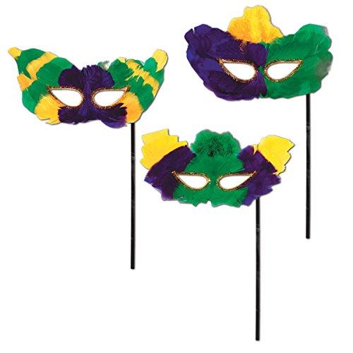 Beistle 54209Mardi Gras fanci-feather Masken mit Stick (Mardi Gras Masken Feather)