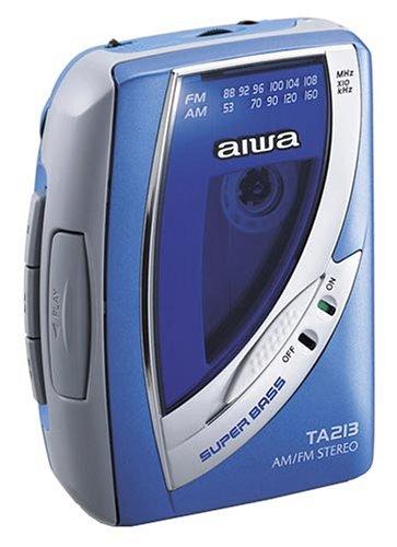 Aiwa HS-TA213 tragbarer Kassettenspieler mit Radio blau (Radio Aiwa)