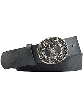 Vollrindleder Trachtengürtel mit Jäger Hirsch Gürtelschnalle - Gürtelbreite 40mm - Farbe: schwarz