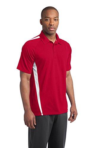 sport-tek Herren Micro Mesh Colorblock Polo Shirt rot - True Red/ White