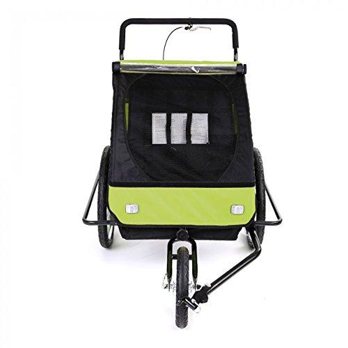SAMAX Fahrradanhänger Jogger 2in1 Kinderanhänger Kinderfahrradanhänger Transportwagen gefederte Hinterachse für 2 Kinder in Grün/Schwarz neu – Black Frame - 6