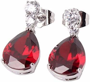 Joyería de moda GULICX oro blanco galvanizado rojo circonita lágrima gota Pendientes para Mujer