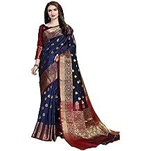 Cotton Shopy Women's Kanjivaram Art Silk Blend Jacquard Saree with Blouse Piece