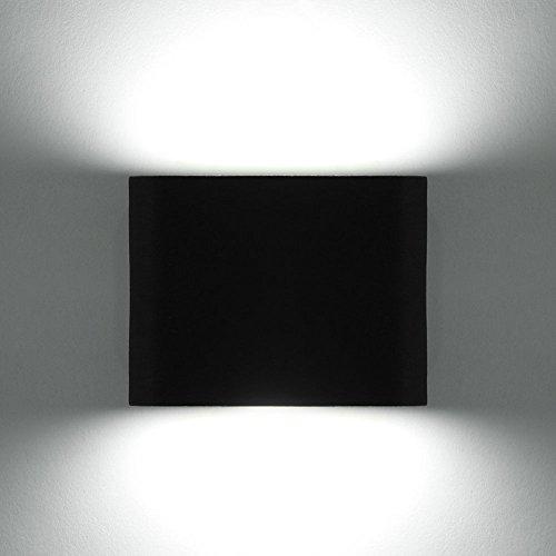 Glighone Applique Murale LED Intérieur Moderne Carré 6W Up Down en Aluminium Lumière Décoratif pour Chambre d'Enfant Jardin Terrasse Guinguette Couloir Restaurant Noir Blanc Froid