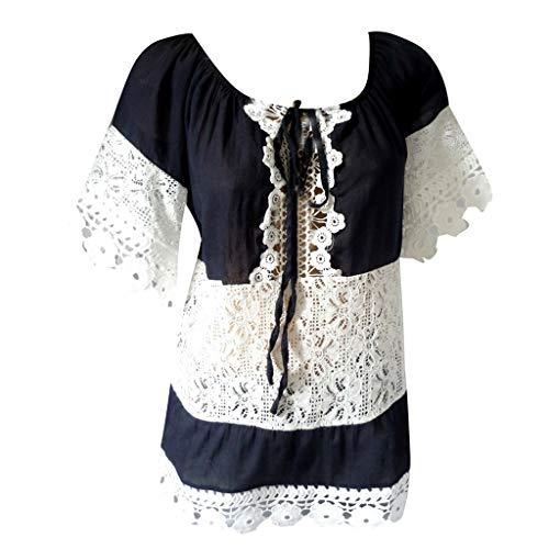 TWIFER Damen Sommer Tops Beiläufige Spitze Patchwork Übersteigt Kurze Hülsenbluse T Shirt
