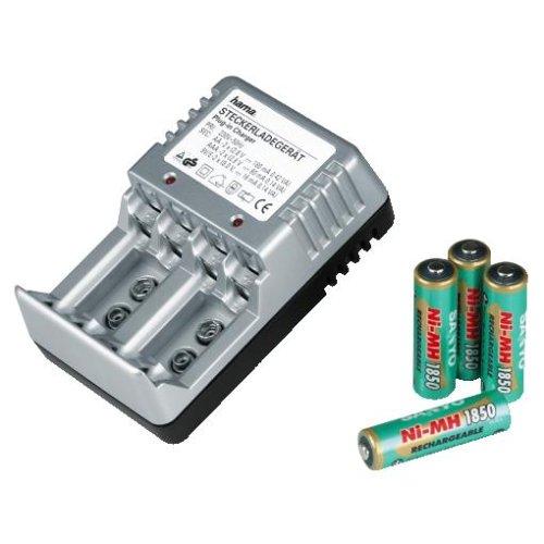 Hama steckerladegerät Uni-ball 3as argento con 4batterie Sanyo-NiMH AA 1850mAh