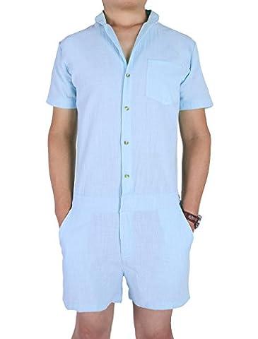 Salopette Short Homme - Hommes Romper Combinaison globale,Chicolife Hommes Short Sleeve