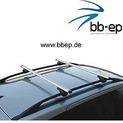 BB-EP-Menabo Einfacher Aluminium Dachträger 90301098 für Volkswagen Golf VII Variant mit normaler (hochstehender) Dachreling für U-Bügel Montage oder T-Nut Montage mit 20 mm Breite