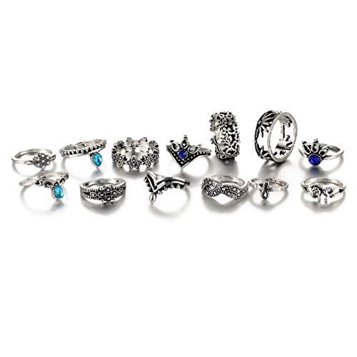 Fliyeong Premium 13pcs Frauen Boho Knuckle Ring Set Vintage Punk Retro Fingerringe - Ringe Oben Silber Knuckle Für