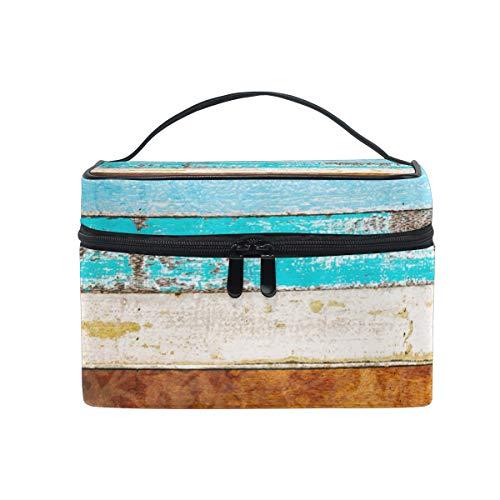 Make-up Kosmetiktasche Vintage Regenbogen aus Holz tragbaren Speicher mit Reißverschluss -