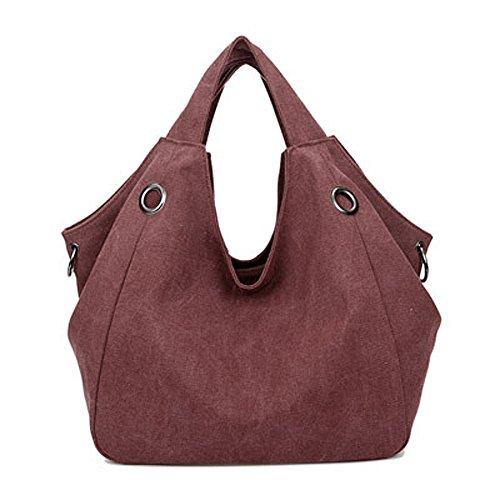 Borsa di Modo per le Donne �?Canvas Handbag Borsa Casuale di Grande Capienza Shoulder Bag Satchel - Borgogna Borgogna
