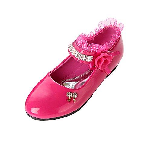 Taiycyxgan Mädchen Frühling Schuhe Kinder Prinzessin schnüren Schuhe Blume  Sptize Student Schuhe Gr2636 Rot