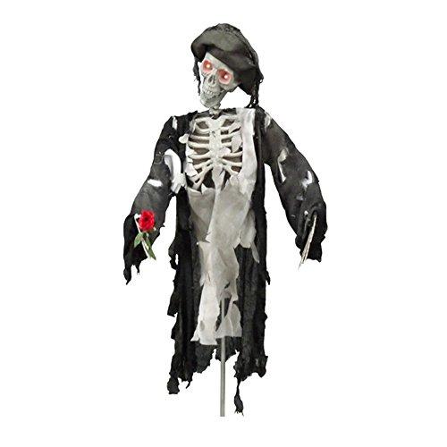 Horror Geist Pirat mit LED Augen, Arm mit Rose bewegt sich mit Ton 80cm auf Ständer Halloween