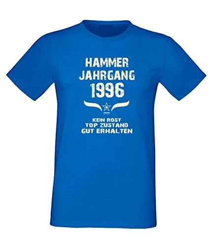 Geburtstags Fun T-Shirt Jubiläums-Geschenk zum 21. Geburtstag Hammer Jahrgang 1996 Farbe: schwarz blau rot grün braun auch in Übergrößen 3XL, 4XL, 5XL blau-02